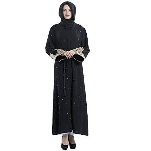 friendGG Damen Cardigan Sommer Muslimischer Kleider Dubai Islamic Women Open Kaftan Abaya Muslimische Strickjacke Jilbab Maxi Dress Clothing Vintage Kostüm Strickjacke