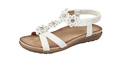 Boulevard Desire Clothing Strass Fleur Mule Sandales Blanc
