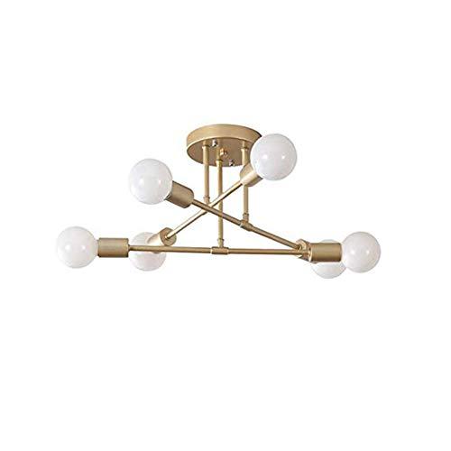 6-licht Halogen-flush (DIEJUE 6 Kopf Sputnik Kronleuchter, Semi Flush Mount Satellite Deckenleuchte Mid Century Modern Pendelleuchte Für Schlafzimmer Wohnzimmer Esszimmer Bar Flur E27 Gold, Gold)