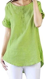 Dubocu Women's Summer Casual Short Sleeve Loose T Shirt Cotton Linen Blouse