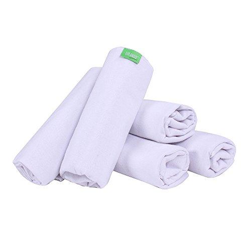 lulando B06X T5X xry pañales de tela, pañuelos, y lavable para Vómitos paños para su bebé, 70x 80cm, tamaño: 5Pack, color blanco