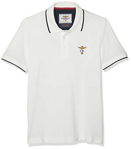 Aeronautica Militare Herren Polo M.C. Poloshirt Bianco (Off White 73062) XL