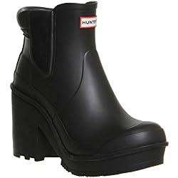 para Mujer Hunter Original Bloque Heel Chelsea Botas de Nieve en Invierno Tobillo Botas, Color Negro, Talla 40