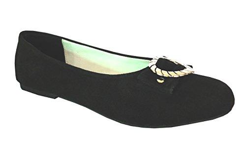 Damen Trachtenschuhe Ballerinas aus Echt Leder, Schwarz, Gr.39