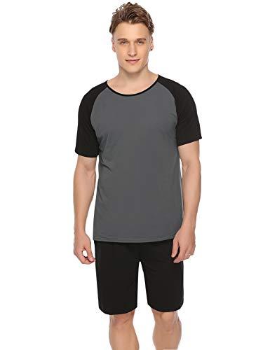 Aiboria Herren Schlafanzug Pyjama Baumwolle Splicing Kontrast Kurz Freizeithosen Jerseyhose Schlafanzughose Set Pant Zweiteiliger -