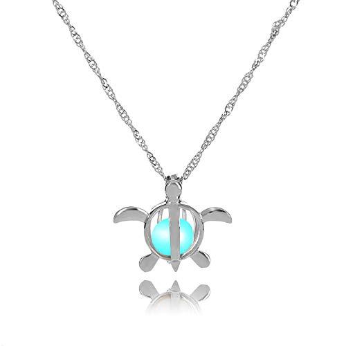 Schildkröte Kostüm Grünen Kleinen - Cohleb Halloween Schmuck Halskette Leuchtende Perlenkette Hohle Kleine Schildkröte Anhänger Halloween Leuchtende Accessoires Blau Grün