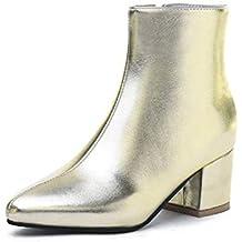 Botas De Tobillo para Mujer Punta Estrecha Invierno Interior Cremallera Cuadrado TacóN SóLido SeñOras Zapatos De