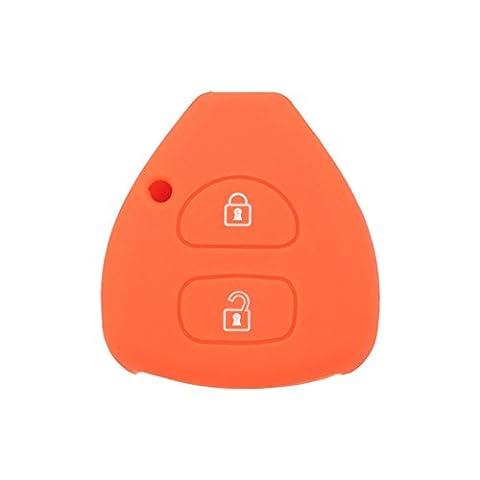 fassport Silikon Cover Haut Jacke passgenau für Toyota 2Tasten Fernbedienung Schlüssel Hohl Textur cv9406