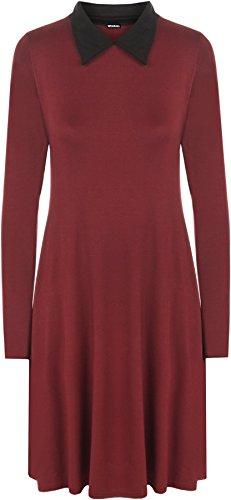 WearAll - Übergröße Kragen Langarm Short Damen Flared Swing-Kleid - 3 Farben - Übergröße Größen 44-56 Wein