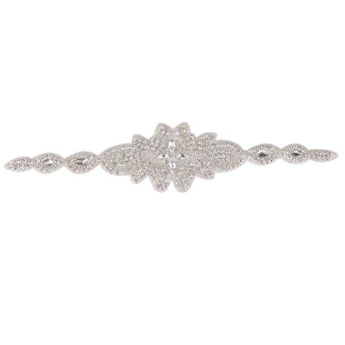 Pixnor A mano sposa nastro nozze abito strass cintura velo nuziale Decor fai da te catena Belt Waist - Velo Abito