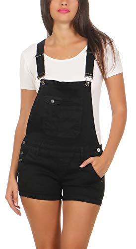 Fashion4Young 10041 Damen Latzhose Jeanslatz Hose Hotpants Shorts Kurze Hose Jeans Jeanslatzhose (L/40, schwarz)