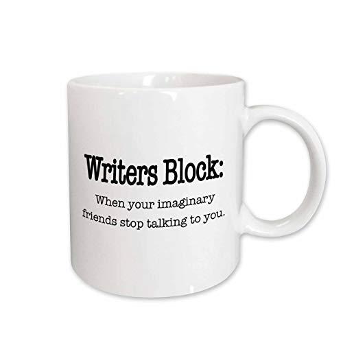 3drose Tasse 157392_ 1Writers Block, wenn Ihr Imaginary Friends Stop Talking To You, Englisch, Schreiben, Autor, Schriftsteller Keramik Tasse, 11-ounce Christmas Plate Block