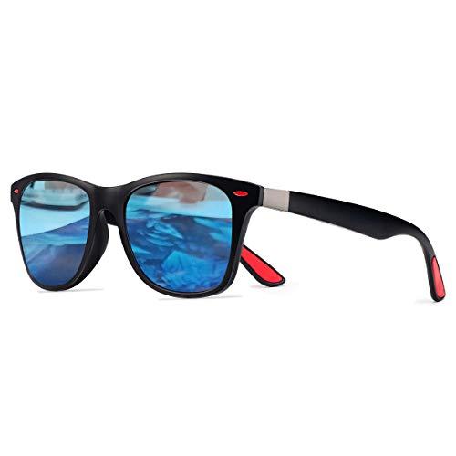 CHEREEKI Polarisierte Mode Sonnenbrille mit UV400 Schutz Unisex Klassische Brille für Herren Damen (Schwarz und Blau)