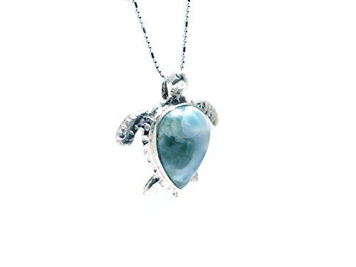 Larimar Anhänger, Schildkröte, mit Muster Helles Blau, mit 925er Silber eingefasst Handarbeit