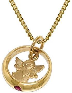 trendor Gold Taufring-Anhänger mit goldplattierter Halskette 73464