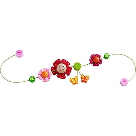 Haba 303822 – Kinderwagenkette Schmetterlingsfreunde | Wagenkette mit bunten Blumen- und Schmetterlingsmotiven | Baby…