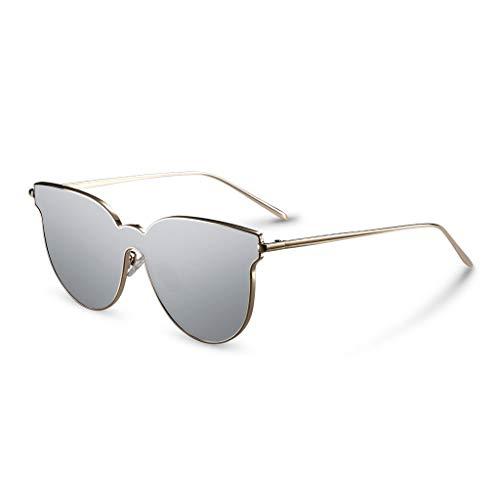 Sgfccyl Polarisierte Sonnenbrille Retro Street Shooting Lady UV-geschütztes Fahren im Freien, leichte Cat-Eye-Sonnenbrille für unterwegs (Farbe : Silber)