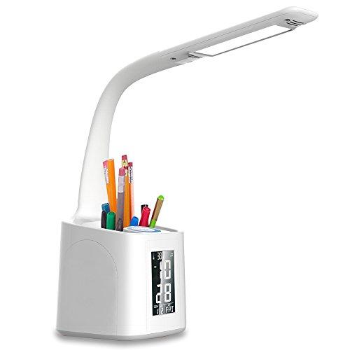 Schreibtischlampe LED wanjiaone Tageslichtlampe mit USB Ladeanschluss ,Augenschutz Stifthalter Tischleuchte ,Schreibtischlampe Kinder,  Dimmbar Touch Control, Student Leselicht,Stift-Halter, Weiß