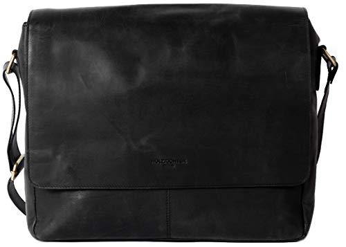 Premium Umhängetasche (M) aus Leder - Handgefertigte Messenger Bag im Vintage Design - Ledertasche für Herren und Damen - schwarz anthrazit ()