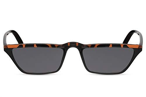 Cheapass Sonnenbrille Katzenauge-n Schwarz Braun Leopard-Print UV-400 Schmal Breit Cat-Eye Plastik Damen Frauen