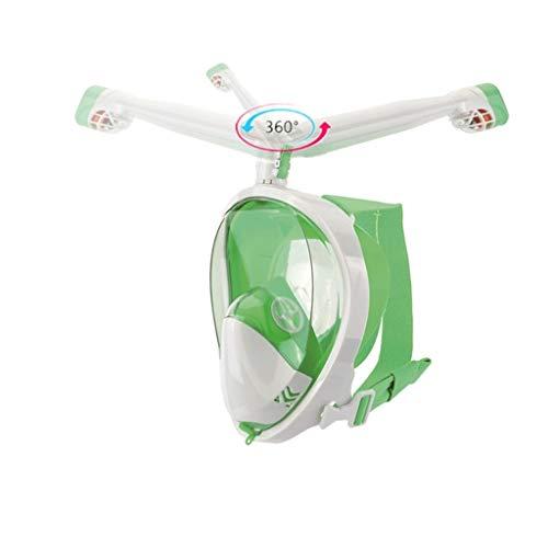 LLF Masque de Plongée, Intégral, Tube de Respiration À Rotation de 360 °, Support Anti-buée Et Anti-Fuite, Support De Caméra d'action Amovible pour Adultes (Color : Green, Size : S/M)