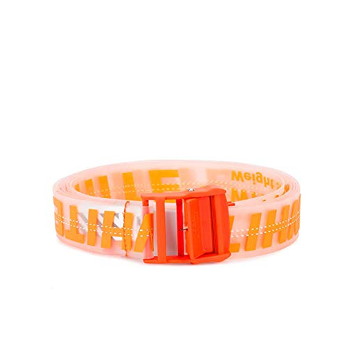 OW transparent three-dimensional letter metal rubber stitching belt new style logo men women (Black New The Is Orange Outfit)