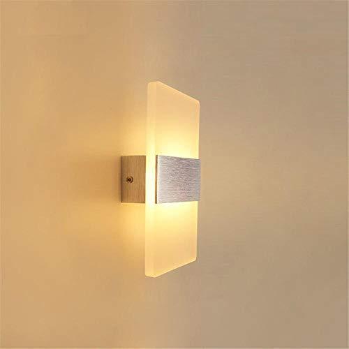 Wandlampe LED Innen Modern Up Down aus Aluminium Mit Einstellbar Abstrahlwinkel LED Wandbeleuchtung IP65 Innen/Auße für Wohnzimmer Schlafzimmer Treppenhaus Flur/Gebürstetes silver_warmes Licht