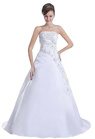 Faironly Stickerei Weiß Satin trägerlosen Brautkleid N8: Amazon.de ...