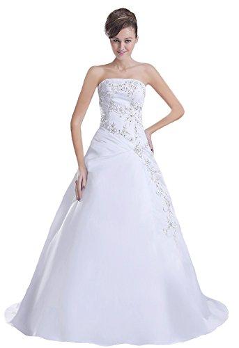 Faironly Stickerei Weiß Satin trägerlosen Brautkleid N8 (XL)