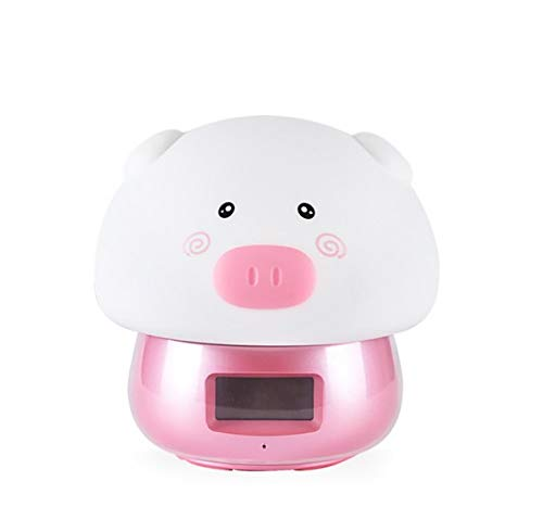 SUIBIAN Cute Night Lights, Alarm Clock, DIY Recorded Advertisement, Remote Control, Colorful Discoloration, Awakening Pressure Relief, Silica Gel Ambient Lamp,E (Control Alarm Clock Remote)