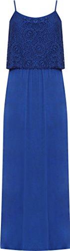 WEARALL Plus Femmes Longue Maxi Robe Dames Lacets Sans Manches Floral Dentelle Étendue Nouveau - 42-56 Bleu royal