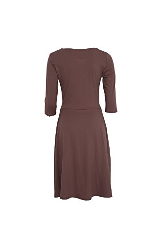 Sexy col v profond ruché Swing Party Dress des femmes brown