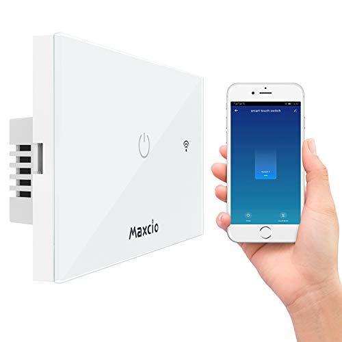 Interruttore Smart, Maxcio Interruttore Alexa della Luce, Switch Wifi Compatibile con Alexa Echo, Google Home e IFTTT, Controllo Vocale, APP Controllo Funzione Timer, Condividere (1 Gang)
