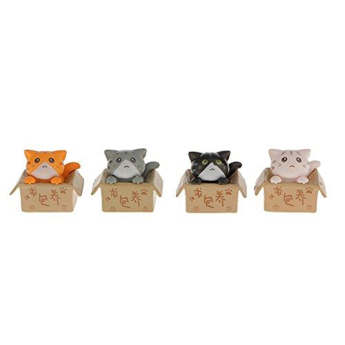 MagiDeal Satz 4pcs Miniatur-Fee Puppenhaus Bonsai Handwerk Garten Niedlichen Katzen Dekor - Miniatur-katzen