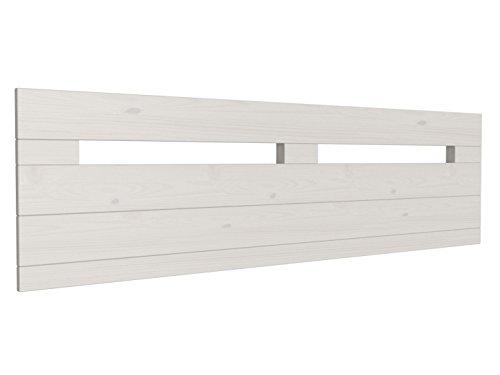 Cabecero de Cama de Madera Maciza rústico Provenza de 160 x 44 cms. Color: Blanco nórdico. Se suministra Terminado Totalmente, no Requiere Montaje. Salvo la fijación a Pared.