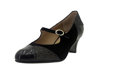 Chaussure femme confort en cuir Piesanto 7227 babies habillé comfortables amples Noir
