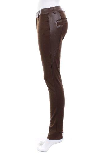 Legging avec empiècement faux cuir Marron