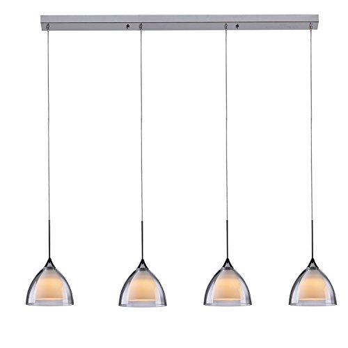 GELED 090121-Light doppio LED Mini lampada a sospensione con uno strato di vetro inciso Socketing con uno strato di vetro trasparente, cromo lucido moderno 4 Lamps with a 28.74