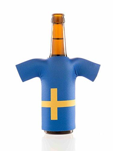 Flaschentrikot Schweden - Flaschenkühler, Bierkühler, Getränkekühler aus Neopren - Fanartikel und Partyspaß zum Grillen, Public Viewing und Feiern
