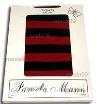 Schwarz Gestreifte Strumpfhose-strumpfhosen (Pamela Mann Neon Twickers Gestreift Striped Strumpfhose - Neon Rot Flo Red)