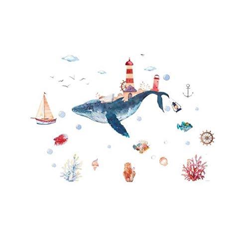 Underwater World Whale City Acquerello Adesivi murali Bambino Adesivi murali Bagno Wndow in Vetro per camerette 60 * 90 cm