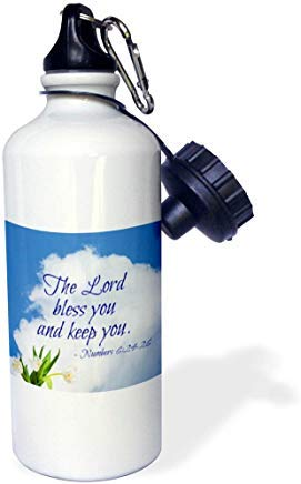 Queen54ferna Zitate Religion Bibel Zitate The Lord Bless You White Cloud, Tulpen Aluminium Sport Wasserflasche weiß Wandern Gym Schule Camping Wasserflasche für Herren, Damen, Kinder