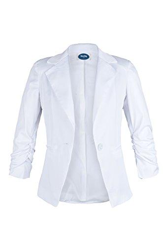 Blazer Kostüm Weiße - 4tuality AO Damenblazer mit 3/4 Arm weiß Gr. L