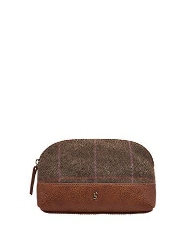 Joules Womens Short Haul Tweed Small Zip Pouch Travel Bag Womens Brown Tweed