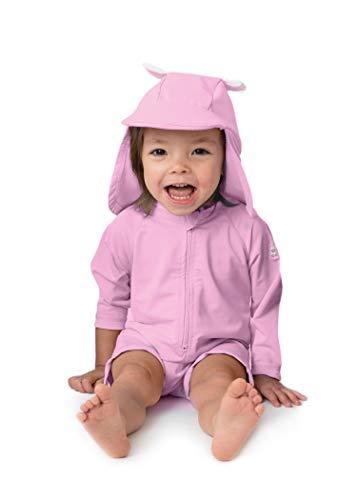 Sunzies einteiliger Baby Badeanzug UV 50+ Sonnenschutz Langärmlig Kinder Mädchen & Jungen (0-3 Monate, Bär Rosa)