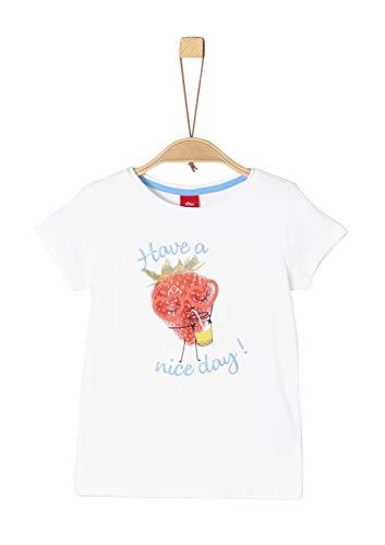 s.Oliver Mädchen 58.906.32.5720 T-Shirt, Weiß (White 0100), 92/98 (Herstellergröße: 92/98/REG)