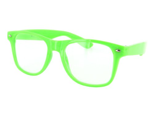 Alsino Streber Brille Nerd-Brille giftgrün, klare Gläser - ohne Stärke V-86e