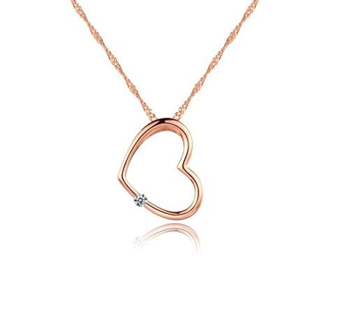 Designer Inspired-Collana con ciondolo a forma di cuore con diamante sintetico, placcato in oro rosa, con catenina in argento 925, motivo: (18