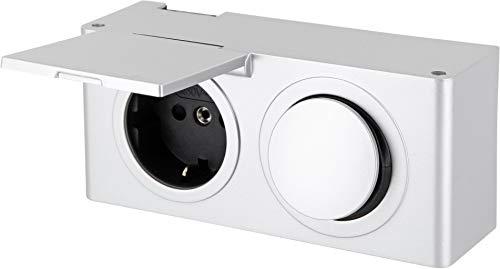 Aufbau Kombi Steckdosenleiste IP44 mit Schalter 12V - spritzwassergeschützt- Ausschalter für z.B. 12V LED Lampen Leuchten (12v-leuchte-schalter)