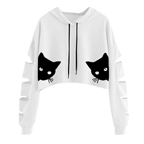 DOFENG Damen T Shirt Bluse Sweatshirt Damen Loch Lange Ärmel Mode Locker Katze Drucken Lässig O Hals Pullover Oberteil Tops (A-Weiß, X-Large)
